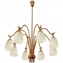Arredoluce Eight Arm Brass and Glass Chandelier