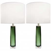 Pair of Nils Landberg for Orrefors Green & Clear Glass Lamps