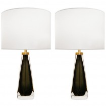 Pair of Nils Landberg for Orrefors Olive Green Glass Lamps