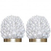 Pair of Rock Crystal and Bronze Sconces