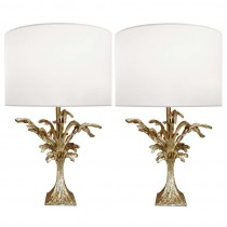 Pair of French Cast Bronze Abstract Botanical Lamps