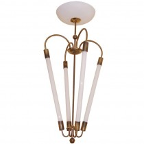 Italian Brass Chandelier with Tubular Bulbs