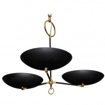 French Brass and Black Enameled Three Arm Chandelier