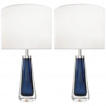 Pair of Nils Landberg for Orrefors Blue Glass Lamps