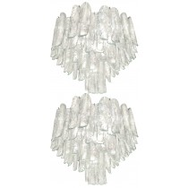 Very Rare Pair of Large Barbini Textured Glass Chandeliers