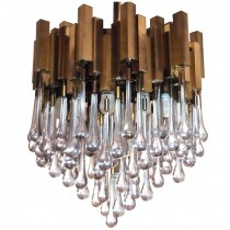 Brass Chandelier with Teardrop Glass by Gaetano Sciolari.