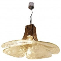 Carlo Nason for Mazzega Light Fixture in Tobacco and Clear Glass