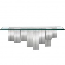 Sculptural Polished Aluminium Console with Glass Top by Cy Mann