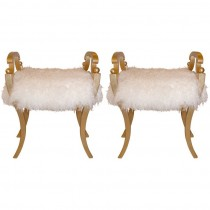 Pair of Karl Johan Gilt Mahogany Stools in Curly Lamb