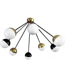 Eight Brass and Black Arm Chandelier with Glass Globes by Stilnovo