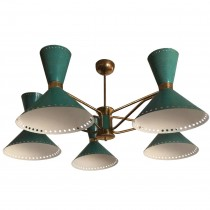 French Brass Five-Arm Chandelier with Green Enameled Shades