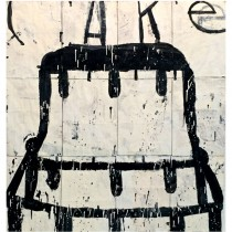 """""""Cake"""" Oil on Paper Bags by Gary Komarin"""