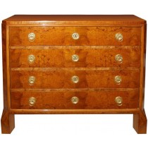 Biedermeier Four Drawer Walnut Dresser