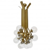 German Brass Chandelier with Glass Globes