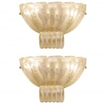 Pair of Barovier Fluted Pale Amber Glass Sconces