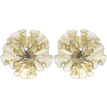 Pair of Amber and Clear Glass Sconces by Vistosi