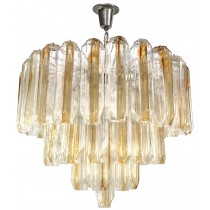 Three Tier Venini Clear and Amber Glass Chandelier (4 Chandeliers Available)