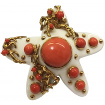One of a Kind Ivory, Coral and 18K Gold Brooch Signed Seaman Schepps