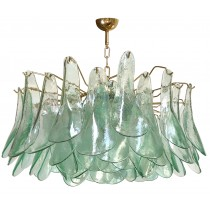Green & Clear Glass Chandelier by Alfredo Barbini