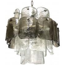 Italian Smoky Grey and Clear Glass Chandelier
