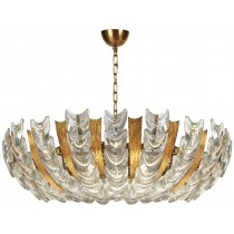 Austrian Gilt Textured Brass and Glass Chandelier
