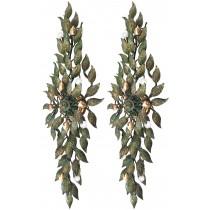 Pair of Large European Bronze Leaf Sconces