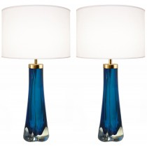 Pair of Thick Cased Blue Glass Lamps from Craig Van Den Brulle to Order