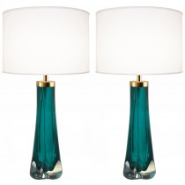 Pair of Thick Cased Aqua Glass Lamps from Craig Van Den Brulle to Order
