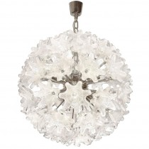 Murano Chrome and Glass Flower Ball Chandelier