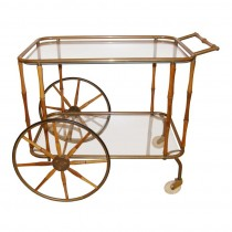 Italian Walnut and Brass Bamboo Bar Cart
