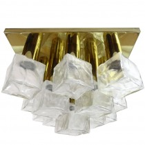 J.T. Kalmar Brass and Glass Ceiling Fixture