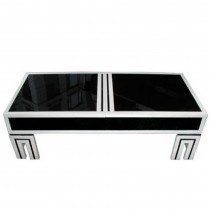 James Mont Black Glass Coffee Table