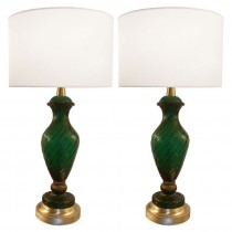 Pair of Barovier Green and Gold Glass Lamps