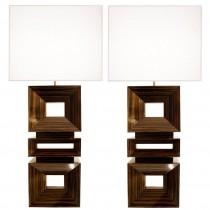 Pair of Craig Van Den Brulle Macassar Ebony Lamps
