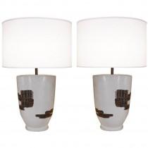 Pair of Signed Marianna Von Allesch Ceramic Lamps