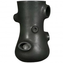 Signed Abstract Sculptural Black Ceramic Vessel by Martin Bodisen Kaldahl