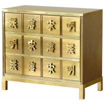 Three-Drawer Brass Dresser by Mastercraft