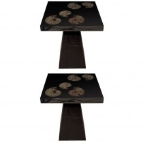 Pair of Cast Black Resin and Ammonite Side Tables by Michael Laut