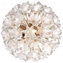 Murano Brass and Glass Flower Ball Chandelier