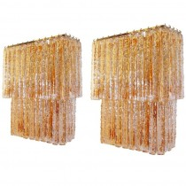 Pair of Large Amber and Clear Glass Sconces Attributed to Mazzega