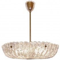 Orrefors Textured Crystal and Brass Chandelier