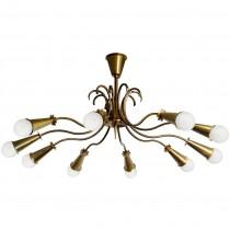 Oscar Torlasco Large Brass Ceiling Fixture Chandelier