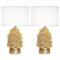 Pair of Amber Rock Crystal Lamps