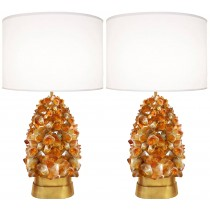40% Off / Pair of Deep Amber Rock Crystal Lamps by Craig Van Den Brulle