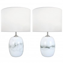 Pair of Holmegaard White and Gray Glass Lamps