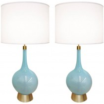 Pair of Italian Blue Glass Lamps