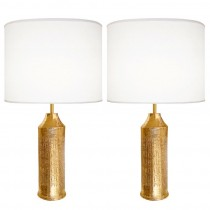 Pair of Italian Gold Ceramic Lamps