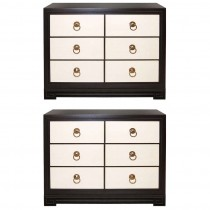 Pair of John Stuart Three-Drawer Ebonzed Mahogany and Parchment Dressers