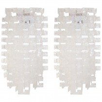 Pair of Large Italian Opalescent and Clear Glass Sconces