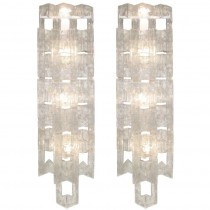 Pair of Mazzega Large Glass Sconces